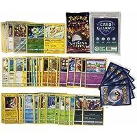 Pok Lot de 50 Cartes Pokemon sans Doubles + 1 Pokemon Booster aléatoire + 2 Cartes Brillantes Cadeau + 1 Cartes Rare…