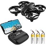 Potensic Mini Drone A20W avec Trois Batteries Longue Autonomie Drone avec Caméra HD WiFi FPV Avion Hélicoptère RC 2.4GHz 6 Ax