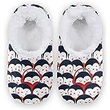 Naanle - Pantofole da donna con pinguino nascosto, in memory foam, per interni ed esterni, per camera da letto, in pile caldo