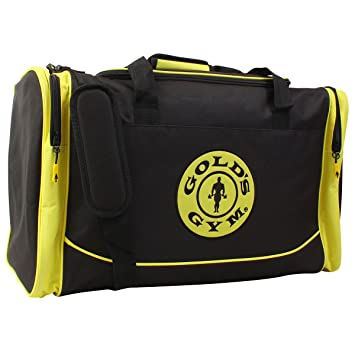Golds Gym 2017 Large Sports Duffel Bag Mens Travel Holdall Black Gold