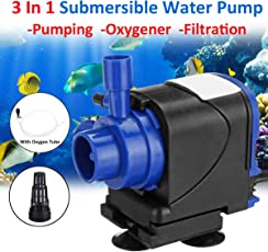 CGT RS Series 3 in 1 Submersible Water Pump for Fish Tank Aquarium Air Filter Pond Fountain Sump Used for Pumping,Oxygenation and Filtration (RS-6500)