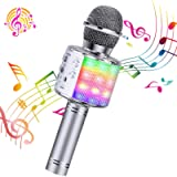 ShinePick Microfono Karaoke, 4 in 1 Bluetooth Wireless LED Flash Microfono Portatile Karaoke Player con Altoparlante per…