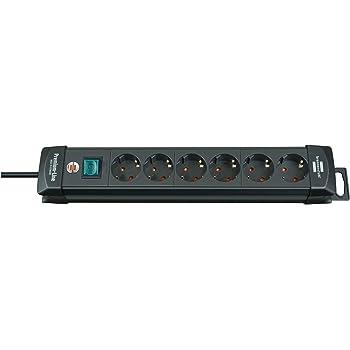 Brennenstuhl Premium-Line, Steckdosenleiste 6-fach (Steckerleiste mit Schalter und 3m Kabel - 45° Winkel der Schutzkontakt-Steckdosen) Farbe: schwarz