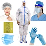 ORILEY OLPPE6 6-in-1 PPE Kit Personal Protective Equipment Combo with DRDO Approved Coverall Suit, Meltblown Filter Face…