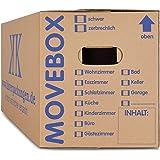 KK Verpackungen 50 x Umzugskartons Movebox 2-wellig doppelter Boden in Profi Qualität 634 x 290 x 326 mm