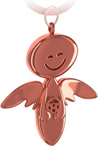 Fabach Guardian Angel Keyring With Steering Wheel Elegant Angel Pendant Made Of Metal In Silver Rose Black Bronze Gift Good Luck Charm For Car Driving Licence Drive Safely Luggage