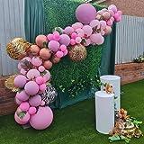 Ballongbåge girlang kit, olika storlekar av lila rosa och leopardmönster aluminiumfolieballonger, för gör-det-själv-fest baby