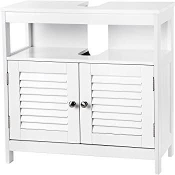 VASAGLE Under Sink Cabinet Storage Cabinet Bathroom Cupboard Double Shutter Door 2 Compartments Damp-Resistant 60 x 30 x 60 cm White Country Style BBC02WT
