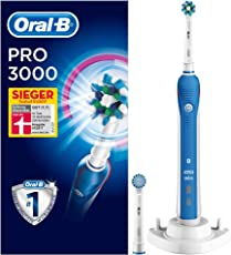 Oral-B Pro 3000 Elektrische Zahnbürste, mit visueller Andruckkontrolle und 2 Aufsteckbürsten, weiß/blau