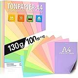 Papier à dessin au pastel DIN A4-100 feuilles - 130 g - 10 couleurs - Papier uni - Feuilles pastel colorées pour l'école, les