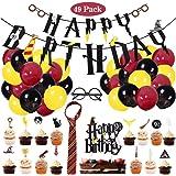 Amycute 49 Pezzi Decorazioni Compleanno Bambini, Buon Compleanno Striscioni, Occhiali, Cravatta, Cupcake Topper, Palloncini,