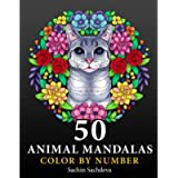 50 Animal Mandalas: Color by Number Coloring Book for Adults features Floral Mandalas, Geometric Patterns, Swirls…