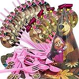 52 Pezzi Masha con Orso Set di Stoviglie per Feste,Includere Coltello da tavola Forchetta Cucchiaio Cannucce Drago Che Soffia