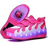 Pattini a rotelle per Bambini con Ruote 7 Colori Luci a LED Scarpe Sportive Ricarica USB Pattini in Linea Luminosi a Ruota Pa