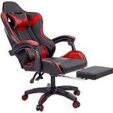 CO-Z Sedia Gaming Sedia da Gioco in Pelle con Massaggio per Computer Reclinabile con Ruote Sedia Ergonomica Regolabile in Alt