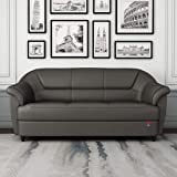 Durian Berry Leatherette 3 Seater Sofa  Grey , Graphite Grey, Three seat