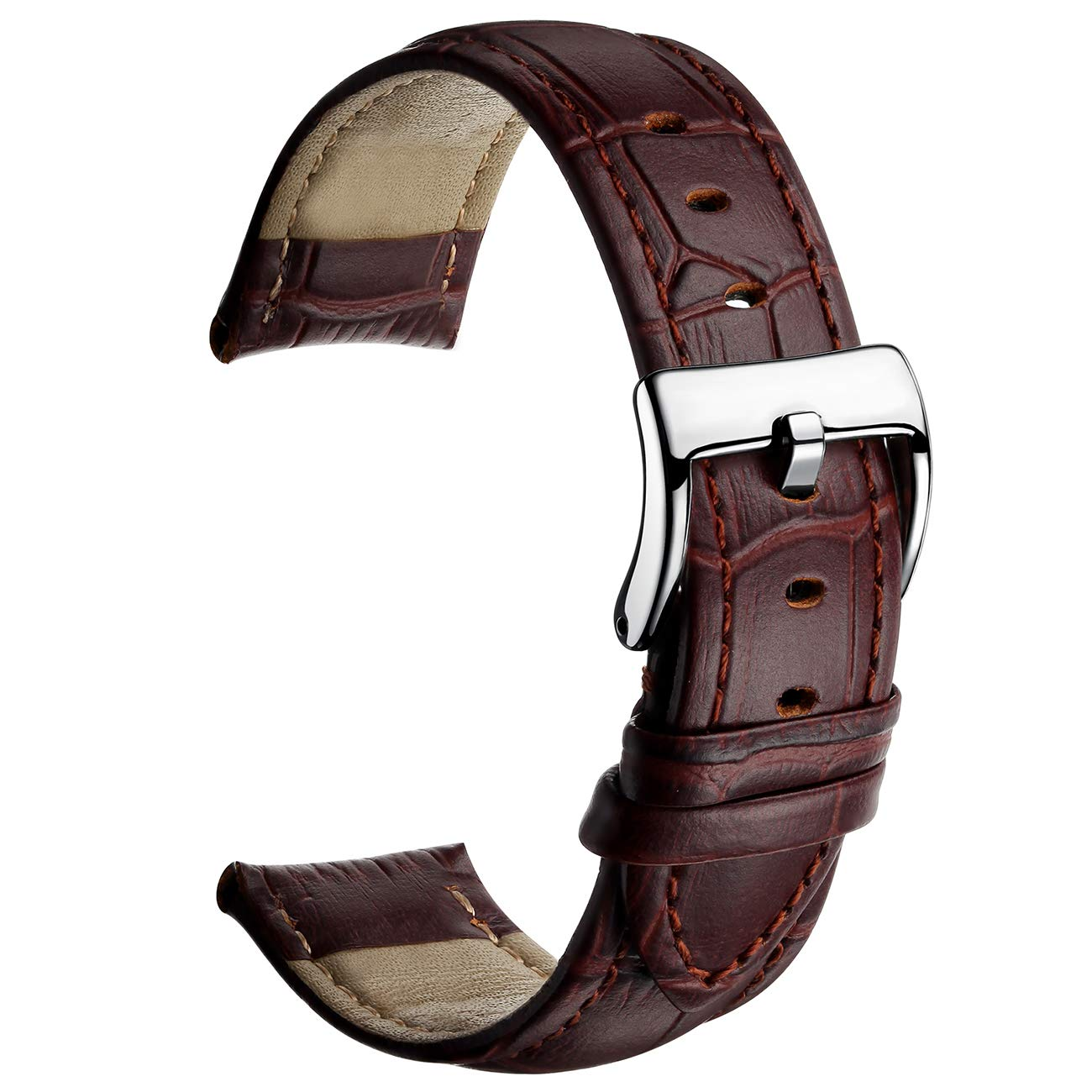 Leather Watch Band Top Grain Genuine Leather Watch Strap 16mm 18mm 20mm 22mm Premium Leather Watch Bands for Men and Women with Solid Stainless Steel Pin Buckle