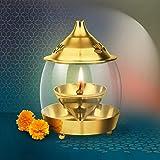 Treo By Milton Arpan Diya, 1 Piece- Brass with Clear Glass Chimney
