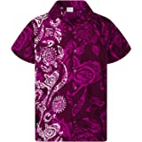 Camisa Hawaiana enrrollada Hombres XS-6XL Manga Corta Bolsillo Frontal Hawaiano-Imprimir Maori Vertical
