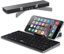 Faltbare Bluetooth Tastatur EC Technology Portable Kabellose Wireless Mini Keyboard mit Stand Ultra Kompakt Wiederaufladbar für Android Windows iOS, Farbe - Schwarz