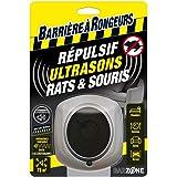 BARRIERE A RONGEURS Répulsif Ultrasons Rats et Souris, Jusqu'à 75 m², BARSONIC