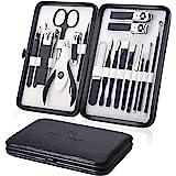 Tagliaunghie Set Professionale - Grooming Kit Strumenti per Manicure e Pedicure 18pcs con Box (Nero)