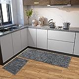 RMHANDLOOM Washable Kitchen Floor Mat Runner with Anti Skid Latex Backing (Grey, 18 x 54 Inches)