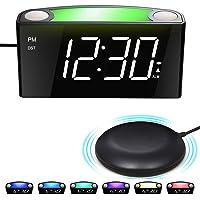 Réveil Sourd avec Vibrant,Alarme Bruyante&Shaker Puissant,Grand Affichage à LED & Variateur,7 Veilleuses Colorées,Port…