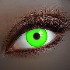 aricona Farblinsen – deckend grüne, farbige UV Kontaktlinsen ohne Stärke – Neon Augenlinsen für Festival, Halloween & Karneval, bunte 12 Monatslinsen
