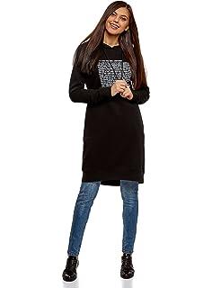 bb783f285ec27 KUDICO Kapuzenkleid Damen Mode Langarm Hoodie Lange Sweatshirt ...