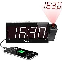 Projektionswecker, FM Radiowecker, 7'' große LED-Anzeige, Decke Mauer Projektionsanzeige mit 3 Helligkeitsstufen, Dual-Alarms, USB-Ladeanschluss, Digitaler Wecker für Schlafzimmer, Tiefschläfer