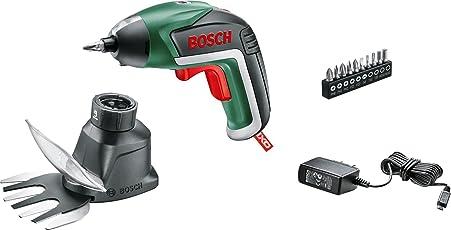 Bosch Akkuschrauber IXO Set (Gras- und Strauchscherenaufsatz, 10 Bits, USB Ladegerät, Karton, 3,6 Volt, 1,5 Ah)