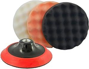 Premium Polierschwamm Set gewaffelt 3tlg. Kombi Ø 150 mm + Premium Polierteller Ø 125 mm