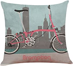 Nunubee Kissenbezug Kreatives Fahrrad Serie Leinenmaterial Skandinavische Wohnzimmer  Deko Kissen Autodekoration Sofa Cover, Fahrrad 1 45x45cm
