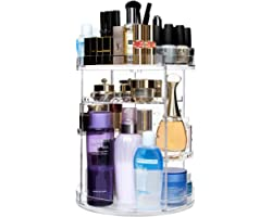 CECOLIC Makeup Organiser 360 Degree Rotating Cosmetic Organiser Clear Acrylic Adjustable Makeup Storage Organisers Fits Makeu