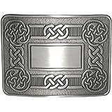 Traditional Dress Celtic Knot Swirl Kilt Belt Waistplate Buckle - Brushed Antique