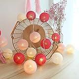 Guirlande Lumineuse Boule Coton, Interieur Decoration Noël Deco, 3.5M 20er LED Globe Light, Fille, Princesse, Enfant, Bebe, C