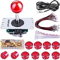 Quimat Arcade Kit ,Game handle,Kit de Jeu d'arcade de Bricolage Pour PC et Raspberry Pi 1/2/3 avec RetroPie, Joystick 5Pin, 8x 30MM et 2x 24MM Boutons < Rouge >