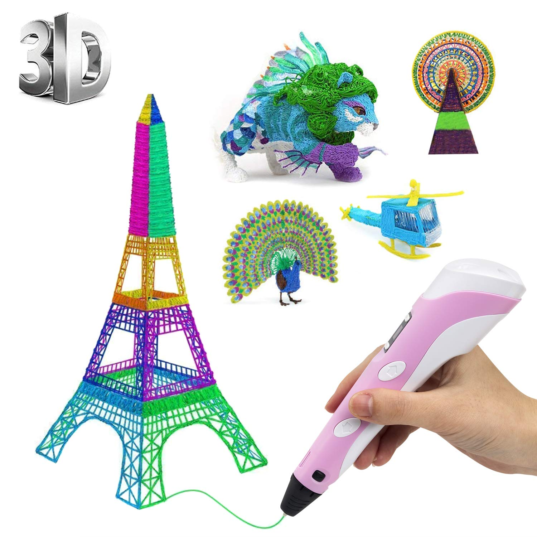 PLUSINNO-3D-Pen-Filament-Stylo-3D-Doodle-DIY-Scribbler-Imprimante-3D-Pen-avec-cran-LCD-13-PLA-Filament-10-Couleurs-diffrentes-10-Modles-en-Papier-pour-la-Pratique-de-lUE