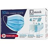 Dulàc - D Mask - Mascherine Chirurgiche Monouso - 50 Mascherine - CE - 4 Strati - Clip regolabile - Anallergica e Impermeabil