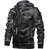 FEDTOSING Men's Faux Leather Bomber Jacket with Removable Hood Biker Windbreaker Coat Slim Fit Moto Jake