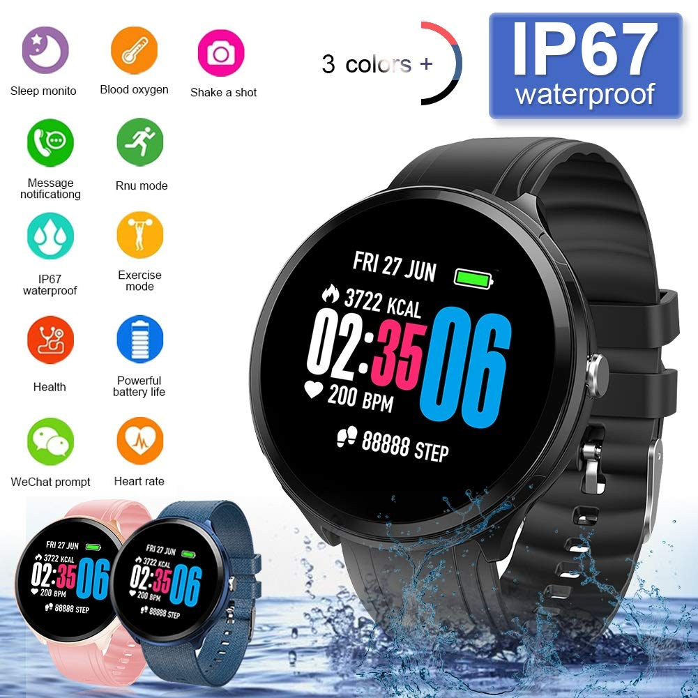 FUPOJW Waterproof IP67 Smart Watch Fitness Activity Tracker with Heart Rate Blood Pressure Monitor Calorie Smartwatch… 1