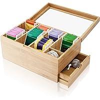 Amazy Boîte à thé décorative en bambou avec 8 compartiments et tiroir - Pour le rangement des sachets de thé et autres…