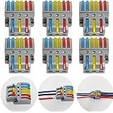 CTRICALVER Lever-Nut Surtidas Conector Paquete de 6, Bloque de Terminales de Barra de Presión Bilateral, 3 en 6 fuera Conduct