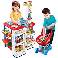 M J CAPTURE Kids Role Pretend Playset Big Size Supermarket kit for Kids Toys with Shopping Cart and Sound Effects…