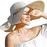 ericotry Damen Strohhut mit großer Schleife, Strandmütze, breiter Schlapphut, faltbar, mit großer Krempe, Sonnenhut, LSF 50+,