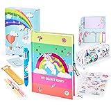 Paochocky 14 PCS Juego de papelería Bonita de Unicornio,Cuaderno de Diario con Cerradura Regalos de cumpleaños Navidad para n