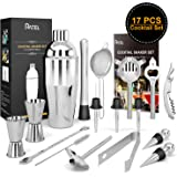 17 Pcs Cocktail Set + 1 Cocktail Manual, RATEL Stainless Steel Cocktail Making Set Professional Bar Party Accessory Tool Cocktail Mixing Kit Including 750ml Cocktail Shaker, Strainer, Muddler, Jigger