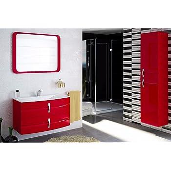 Badmobel Set Lambo 90 Cm Badezimmer Mobel Mit Waschbecken Rot