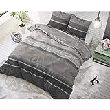 SLEEP TIME Housse De Couette Coton, Housse de Couette d ete, Marron, Good Morning, 220cm x 240cm, avec 2 taie d'oreiller 60cm